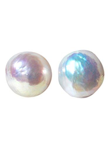 - Silky Affection - Big Pearl Stud Earrings, Baroque Post Earrings, Genuine Freshwater Pearl, Pearl Studs (Round 11-13mm)