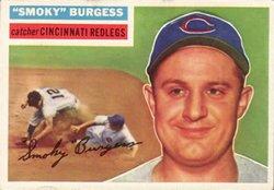 1956 Topps Regular (Baseball) Card# 192 Smoky Burgess of the Cincinnati Reds Fair - Topps 1956 Baseball