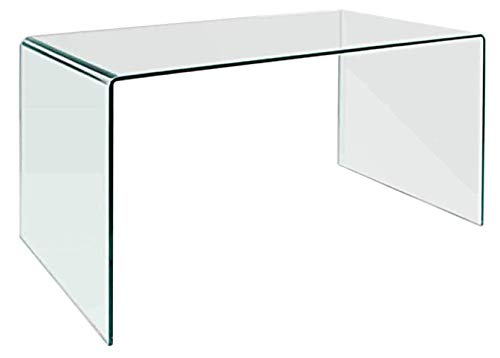 Neos Modern Furniture CD009-N CD009 Modern Rectangular Bent Glass Home Office Desk, 27.5 Clear