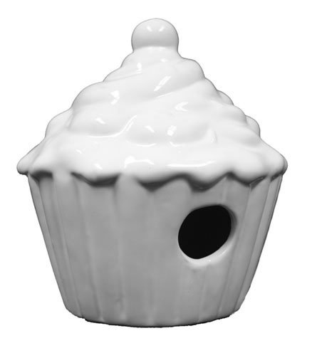 Ceramic Ready To Paint Cup Cake Birdhouse by Plaid