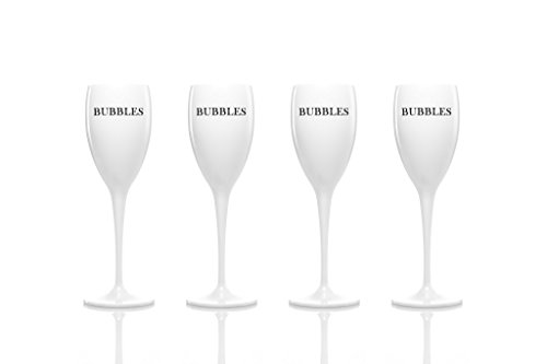Set of 4 - Unbreakable acrylic champagne flutes/glasses by dePrado´s. Best for Moet Chandon summer parties! No glass, non plastic, shatterproof, BPA free and reusable tumbler