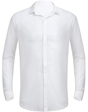 Men's See Through Mesh Clubwear Perspective Muscle Top Long Sleeve Shirt
