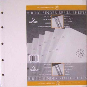 15 pack 5 Ring Scrapbook Binder Refill Pages by Canson