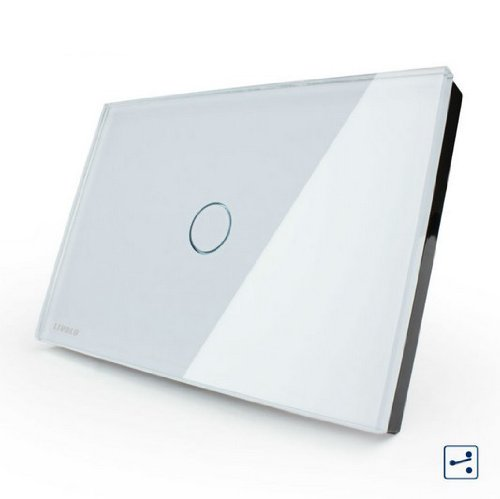 US/AU Standard, VL-C301S-81,1-gang 2-way, Touch Screen Light Switch, White Crystal Glass Panel
