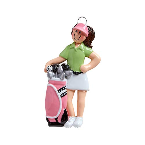 Golf Ball Ornaments (Personalized Golfer Girl Christmas Tree Ornament 2019 - Female Player Polo Shirt Bag of Clubs Golf Ball Professional Woman Member Hobby Caddy Stick Amateurs Year Pink Green - Free)