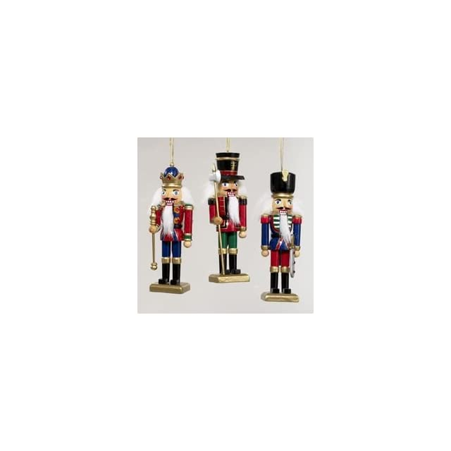 Kurt Adler Wooden Nutcracker Christmas Ornament, Set of 3