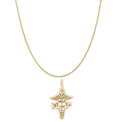 10k Gold Logo Charm - Rembrandt Charms 10K Yellow Gold Nurse Practitioner Charm on a Twist Curb Chain Necklace, 18
