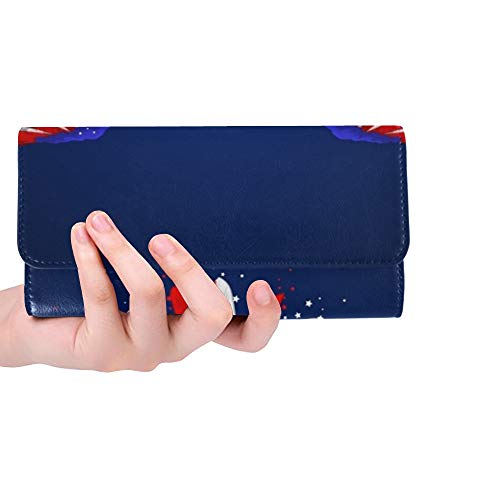 Unique Custom Easy Edit Eagle American Women Trifold Wallet Long Purse Credit Card Holder Case Handbag ()