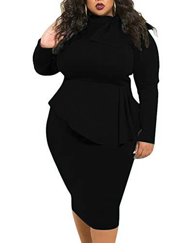 Black Peplum Dresses for Women Plus Size Business Patchwork Bodycon Church Formal Funeral Midi Dress Fall Autumn Spring Winter 2019 5X