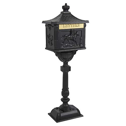 Best Choice Products Heavy Duty Cast Aluminum Vintage Mailbox w/Keys, Locking Door, Mail - Mailbox Victorian Post