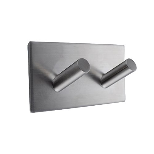 KES A7063H2 Bathroom Lavatory Self Adhesive Double Coat and Robe Hook, Brushed Stainless Steel
