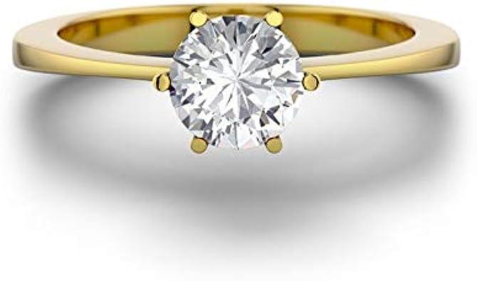 21DIAMONDS Mujer 14 k (585) oro amarillo 14 quilates (585) Rund blanco circonita: Amazon.es: Joyería