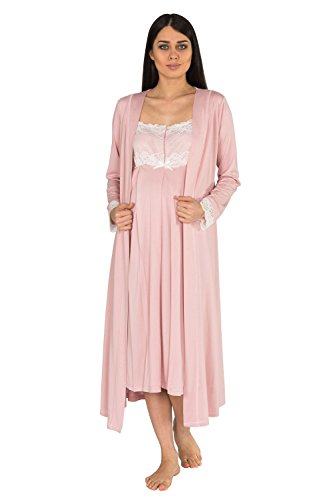 2 Piece Maternity,Nursing Nightgown Pajama Set Featuring Dress wLace Matching Robe with Belt+GIFT!Loomerie Beach Coverups Pearl Details