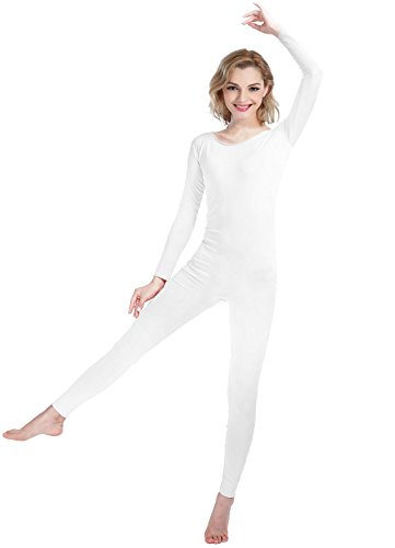 Girls Womens Well-Fit Spandex Lycra Bodysuit Long Sleeve Scoop Neckline Footless Unitard (XL, White) (Footless Unitard)