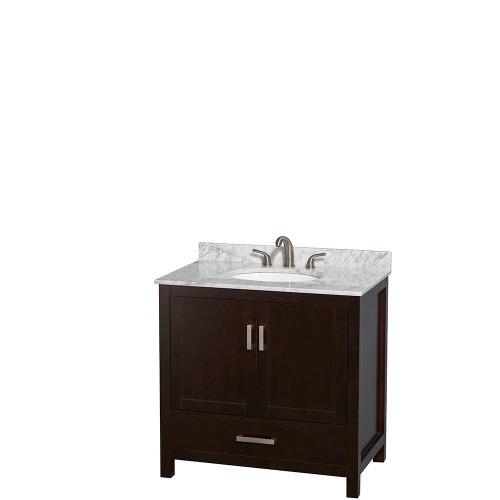 Basin Single Espresso Vanity (Wyndham Collection Sheffield 36 inch Single Bathroom Vanity in Espresso, White Carrera Marble Countertop, Undermount Oval Sink, and No Mirror)