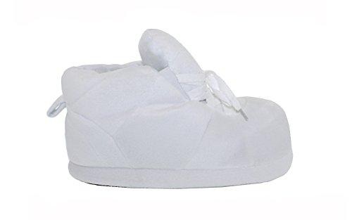Happy Feet Mens Och Womens Vanliga Gymnastik Tofflor Alla Vita
