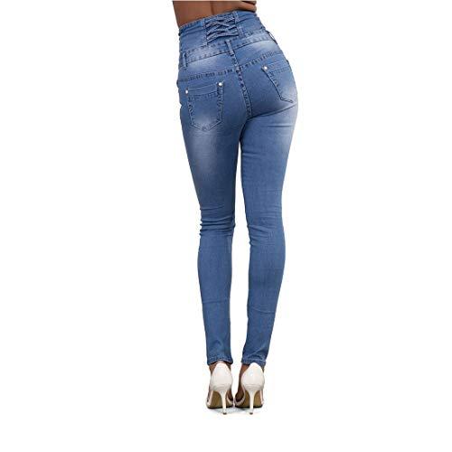 elasticizzati con Jeans 2XL Blue blue skinny con vita matita a alta donna denim Dark pantaloni in Color a Dark bottone Size JUNFELICIA wOEH1dqCw