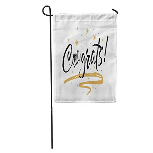 Semtomn Garden Flag Congrats Congratulations Beautiful Greeting Scratched Black Text Word Gold Stars Home Yard House Decor Barnner Outdoor Stand 12x18 Inches ()