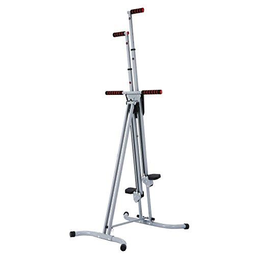 Mewalker Foldable 2 IN 1 Vertical Climber Adjustable Exercise Bike Fitness Equipment Peddler Machine Step Climber For Home Office Men Women (Sliver)