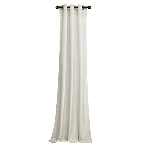 BRIGHTLINEN Vintage 100% Velvet 50 by 132 inches Thick Blackout Elegant Ring Top Eyelet Velvet Curtains Ivory