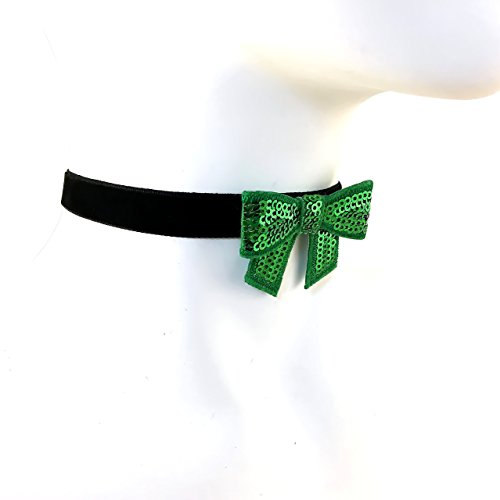 Arthlin Green Bow Tie Choker Necklace for Women, Sequins and Velvet Band, Handmade in the (Shamrock Elf)