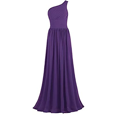 ANTS Women's Pleat Chiffon One Shoulder Bridesmaid Dresses Long Evening Gown at Women's Clothing store