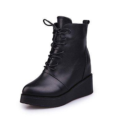 amp;xuezi 7'5 Mujer Formales Vestido Botas Negro 9'5 Casual Tacón Cuña Black Otoño Zapatos Cms Con Pu Gll Paseo Cordón dWn4qRdx