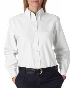 Button Down Collar Oxford Shirt (Ultraclub 8990 UC Ladies Oxford Shirt - White - L)