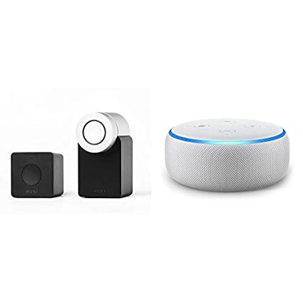 Echo Dot gris claro + Nuki Combo (Smart Lock y Bridge). Cerradura Inteligente