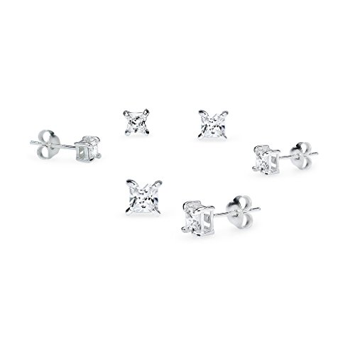 CZ Stud Earrings Princess Cut Sterling Silver Three Pair 3mm 4mm & 5mm Set Men Women