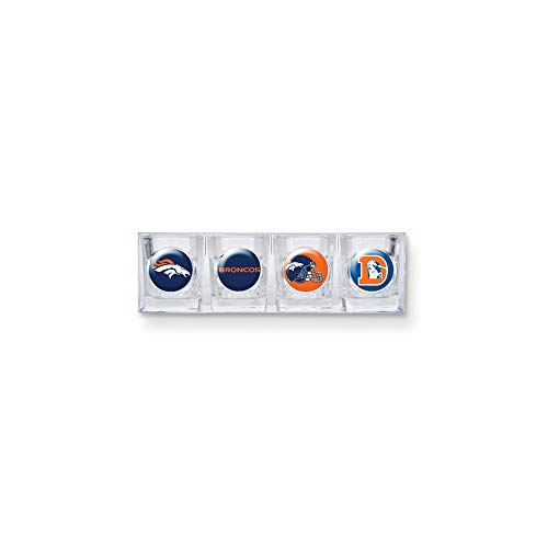 Denver Broncos Glass - NFL Denver Broncos Four Piece Square Shot Glass Set (Individual Logos)