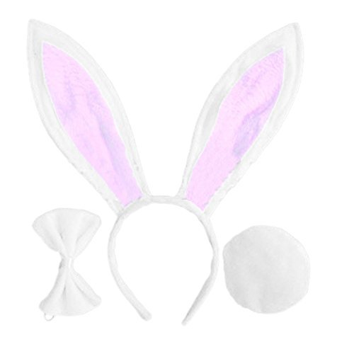 OPYUT Cute Rabbit Ears Tail and Bow Tie Suit-White -