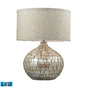 Price comparison product image Elk Lighting D2264-LED Canaan Ceramic LED Table Lamp in Cream Pearl with Light Beige Linen Shade