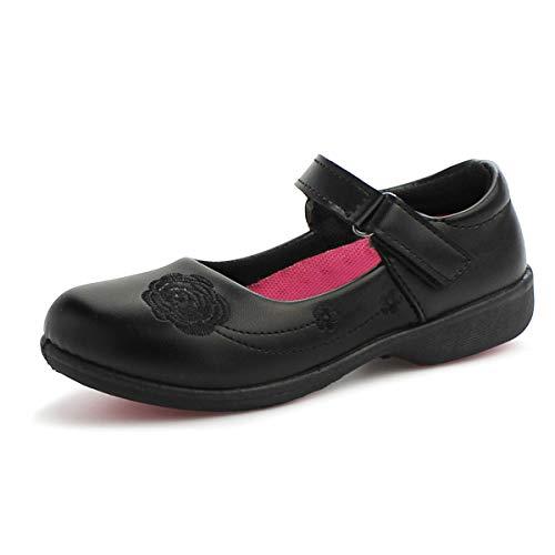 Hawkwell Girl's Strap School Uniform Dress Shoe Mary Jane Flat (Toddler/Little Kid), Black PU, 1 M US -