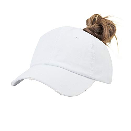 Eohak Ponytail Baseball Hat Distressed Retro Washed Cotton Twill (White -