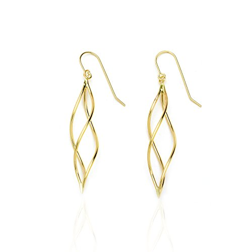 14k Yellow Gold Twisted Pointing Oval Drop Earring with Fish Hook in Gift Box for Women and Teen Girls by SL Gold Imports