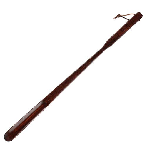 Linshing Extra Long Handle Dark Red Bamboo Joint Style Solid Wooden Shoe Horn Kalzer Sturdy Convenient Roping for Hanging Shaped to Fit Your Heel 70cm/27.55'' Long (D)