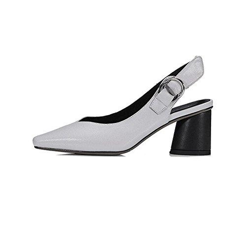 UK4 Talon Taille Talons Rugueux Pointu Dames Fête Formel Bureau Travail Pied Gray Tribunal Gray Caleçon Chaussures Couleur EU36 Doigt femme CJC de sur xHSg771qw