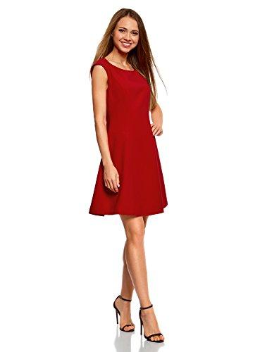 4500n Encolure Tissu Ultra Ovale en Femme Rouge Robe oodji Dense YtZxzqZ