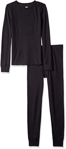 (Fruit of the Loom Boys' Soft Waffle Thermal Underwear Set, Black, 10/12)