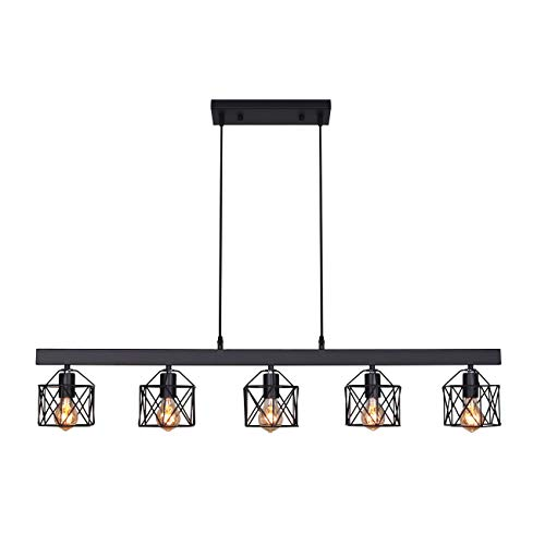Unitary Brand Antique Black Metal Long Kitchen Island Lighting with 5 E26 Bulb Sockets 200W Painted Finish ()