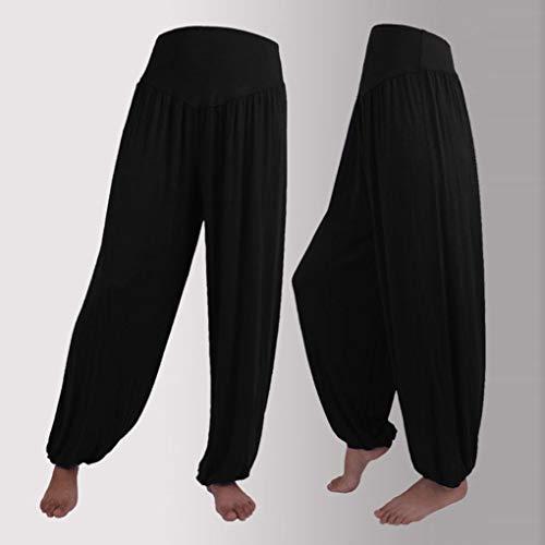 casuali di allentati di Nero casual di donne di Pantaloni cotone elastici Pantaloni di Elecenty yoga Harem Donna delle modali ballo allentati sport UBZq81f