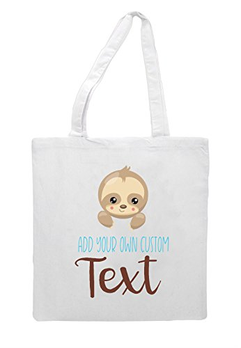 Statement Tote Your Text Sloth Cute Custom Add Bag Own Personalised White Six Shopper 4BOw6