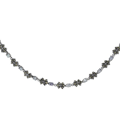 Sterling Silver Cubic Zirconia Lavender Flower Marcasite Necklace, 16 inches long by Sabrina Silver