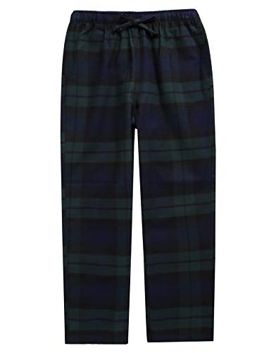 (TINFL Big Boys Soft 100% Cotton Flannel Winter Lounge Pants BLP-SB029 GreenNavy XXL )