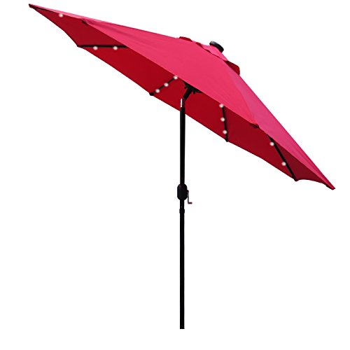 Sunnyglade 9' Solar 24 LED Lighted Patio Umbrella with 8 Ribs/Tilt Adjustment and Crank Lift System (Red)