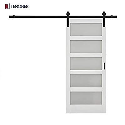 Tenoner DIY 36 inches x 84 inches Unfinished White Glass Sliding Barn Door, with Hardware Kit