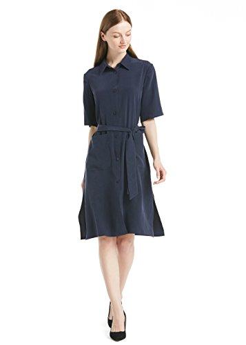 Glamour Belted Belt (LILYSILK 100 Silk Dress for Women Pure Mulberry 22MM Half Sleeve Waist Belt Side Slit Long Vintage Navy Blue)
