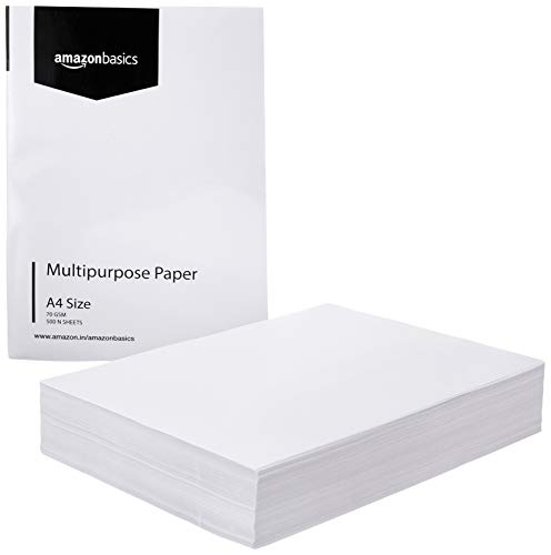 AmazonBasics 70 GSM A4 Multi-purpose Copier Paper Box (5 Reams, 2500 sheets)
