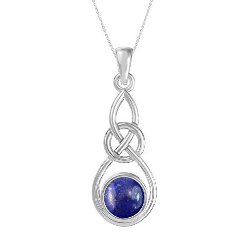 Natural Lapis 925 Sterling Silver Celtic Knot Pendant Necklace